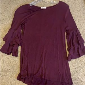 Macy's dark purple blouse with fancy 3/4 sleeves
